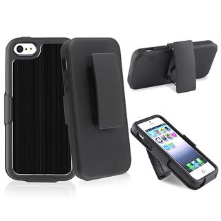 BasAcc Black Brushed Aluminum Holster with Stand for Apple iPhone 5