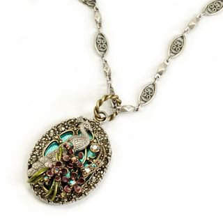 Sweet Romance Pewter Enamel and Crystal Peacock Flourish Necklace