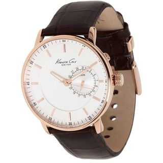 Kenneth Cole Mens Classics Brown Crocodile Leather Strap Quartz Watch