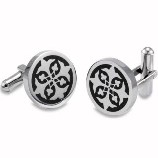 Stainless Steel Black Resin Cross Design Cuff Links