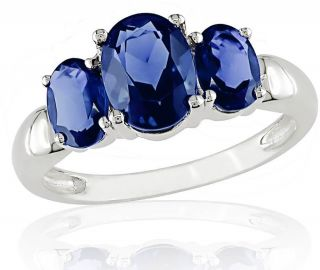 10k White Gold 3 stone Created Sapphire Ring
