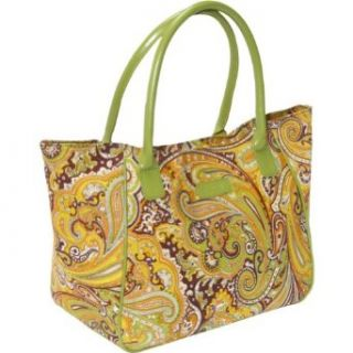 Tote, Style 98 122, Green Paisley with Green Handle