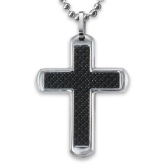 Stainless Steel Polished Black Carbon Fiber Cross Necklace