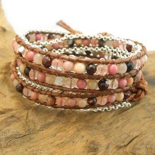 Brown Leather Mix Gemstones Chain Link Triple Wrap Bracelet (Thailand