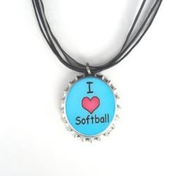 Bow Clippeez 2 Envy I Love Softball Bottle Cap Necklace
