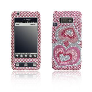 LG Fathom VS750 Pink Silver Heart Design Full Rhinestone Case