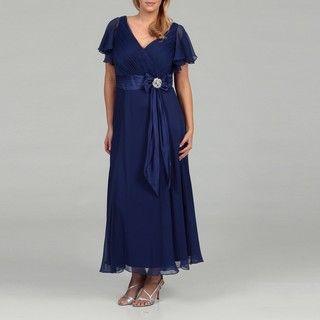 Karen Miller Womens Plus Beaded Bow Long Dress