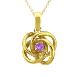 10k Gold February Birthstone Amethyst Love Knot Necklace