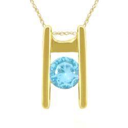 10k Gold March Birthstone Sky Blue Topaz Ladder Necklace