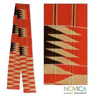 Handcrafted Cotton Blend Ashanti Loom Kente Cloth Scarf (Ghana