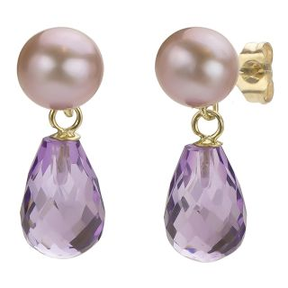 DaVonna 14k Gold Amethyst and Pink 6 6.5mm FW Pearl Earrings with Gift