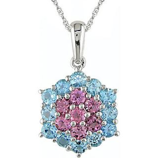 14k Gold Blue Topaz and Pink Tourmaline Necklace