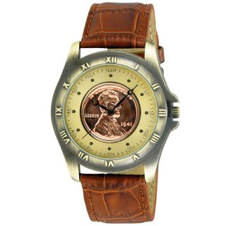 August Steiner Mens Wheat Penny Antique Gold Coin Watch