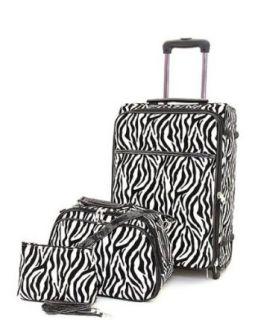 Ladies 3 Piece Zebra Print Rolling Luggage & Carry On Set