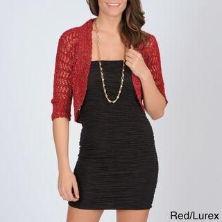 Isabella Rodriguez Womens Metallic Weave Crochet Bolero