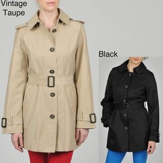 Hilary Radley Womens Single Breasted Trench Coat
