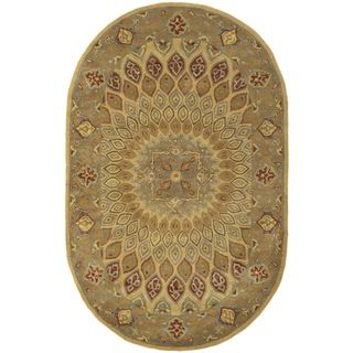 Handmade Heritage Medallion Light Brown/ Grey Wool Rug (46 x 66 Oval