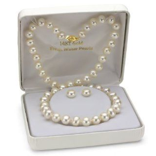14K Yellow Gold 8 9mm White Freshwater Pearl Necklace 18