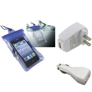 BasAcc Blue Waterproof Bag/ Travel/ Car Charger for Apple iPhone 5