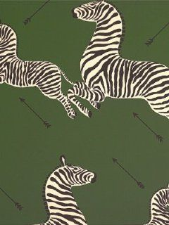 Scalamandre Zebras   Serengeti Green Wallpaper