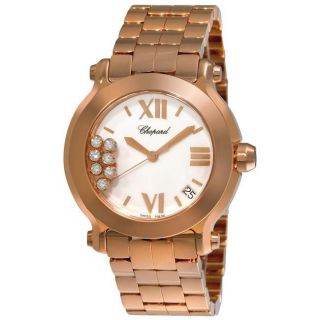 Chopard Womens Happy Sport Rose Gold Diamond Watch