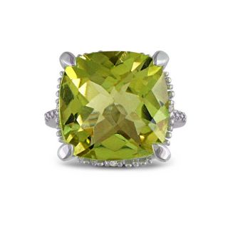 Sterling Silver Lemon Quartz and Diamond Accent Ring