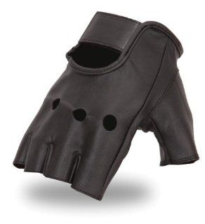 First MFG First Classics Mens Fingerless Leather Gloves. Gel Pad on