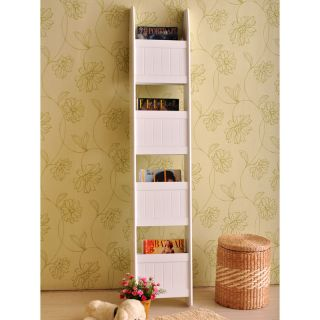 White Wall Leaning Magazine 4 Tier Book Shelf