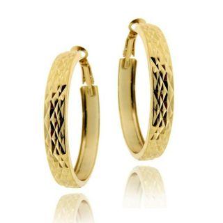 Mondevio 18k Gold over Sterling Silver Diamond cut Hoop Earrings