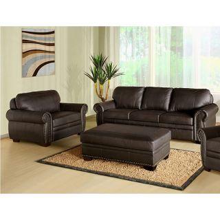 Abbyson Living Signature Italian Leather 3 piece Sofa Set