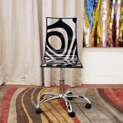 Questa Clear Acrylic Bold Black Print Modern Swivel Chair