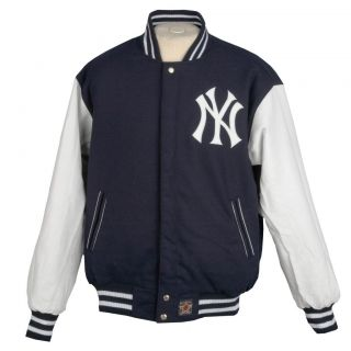 JH Designs Mens New York Yankees Reversible Wool Varsity Jacket