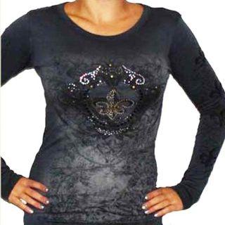 Cotty On Womens Long sleeve Studded Fleur de Lis Shirt