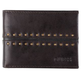 Guess Mens Studded Genuine Leather Bifold Passcase Wallet