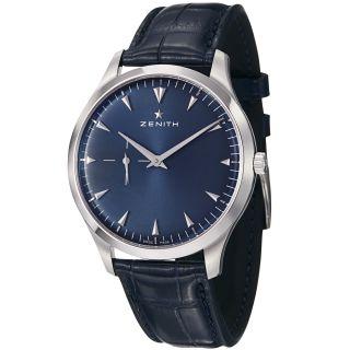 Zenith Mens Class Elite Blue Dial Blue Leather Strap Watch