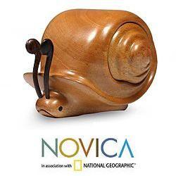 Handcrafted Mahogany Wood Snail Secrets Puzzle Box (Guatemala