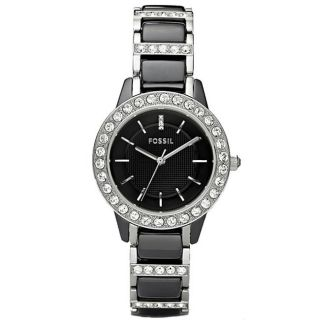 Fossil Womens Jessie Crystal Datail Ceramic Watch