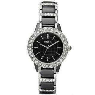 Fossil Womens Jessie Crystal Datail Ceramic Watch