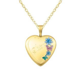 Silver and 14k Gold Sister Flowers Heart shaped Locket Necklace