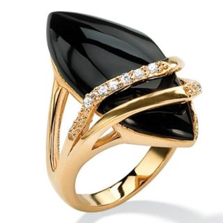 Angelina DAndrea 18k Goldplated Onyx and Cubic Zirconia Ring