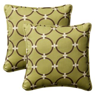 Pillow Perfect Outdoor Green/Brown Geometric Toss Pillows Square   Set