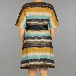 INES Collection Womens Plus Size V neck Striped Belted Dress