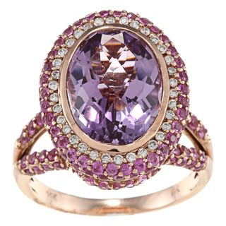 14k Gold Pink Amethyst, Pink Sapphire and 1/5ct TDW Diamond Ring (H I