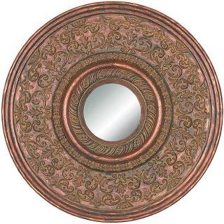 Round Framed Cherry Gold Wall Mirror