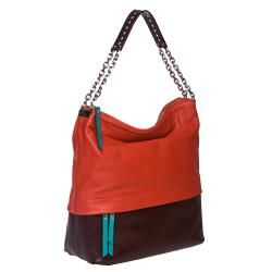 Christian Louboutin Marianne Medium Red/ Brown Leather Hobo Bag