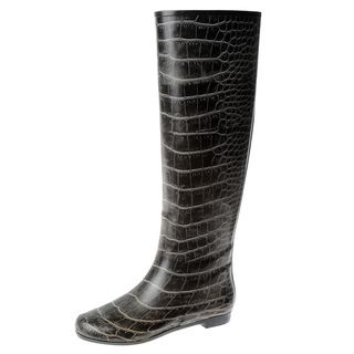 Henry Ferrera Womens Black Crocodile Printed Rubber Knee high Rain