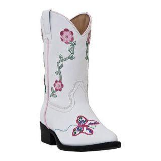 Girls Laredo Flower Power White Polyurethane/Pink Flower