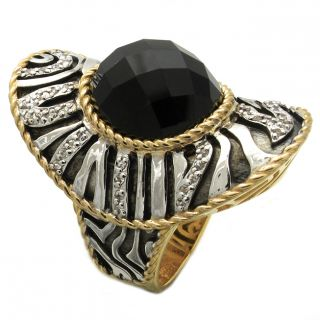 Beverly Hills Charm Silver, Palladium and 14k Gold Black Onyx/ White