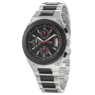 Caravelle by Bulova Mens Bracelet Black and Silver Stainless Steel