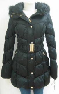 Bebe Belted Down Coat, Jacket, Black, Medium, 137bb